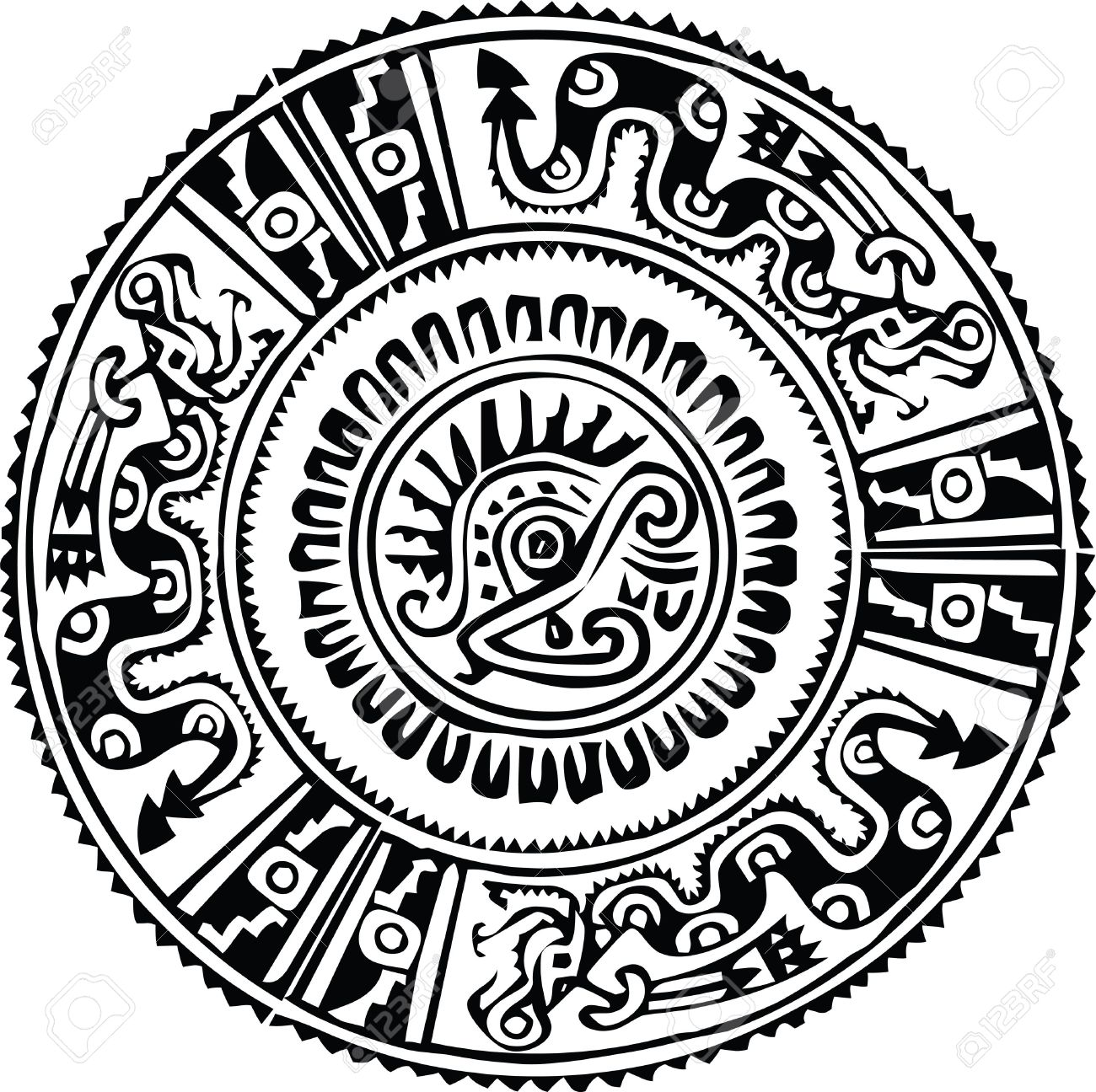 Mayan Calendar Drawing Easy : Ancient pattern vector illustration stock